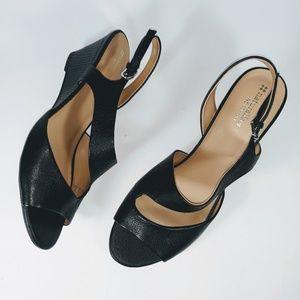 Naturalizer Black Leather D'Orsay Wedge Sandals